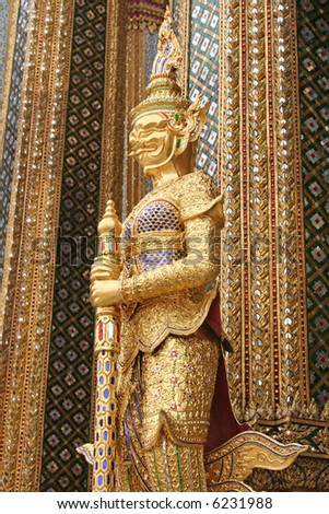 Guardian statue in Emerald buddha temple in Bangkok thailand