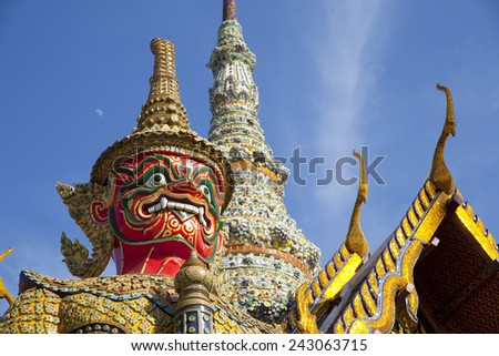 guardian statue (yak) at the phra keaw temple in bangkok,Thailand