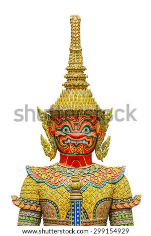 Guardian statues in Emerald Buddha temple in Bangkok ,Thailand - stock photo