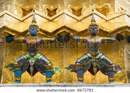 Guardian statues inside Grand Palace, Bangkok, Thailand.