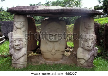 Guardians of Stone - San Agustin, Colombia - stock photo