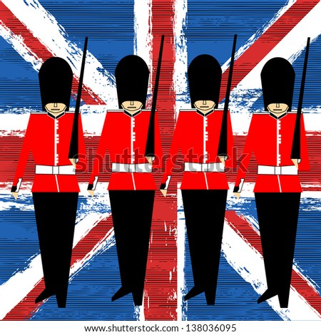 Guardsmen Marching Over A Union Jack background for a British Royal Event - stock photo