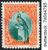 GUATEMALA - CIRCA 1935: A stamp printed in the Guatemala, shows a national symbol, bird Resplendent Quetzal, circa 1935 - stock photo