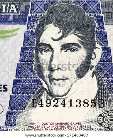 GUATEMALA - CIRCA 2007: Mariano Galvez (1794-1862) on 20 Quetzales 2007 Banknote from Guatemala. Jurist and Liberal politician in Guatemala. - stock photo