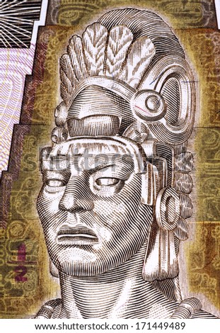 GUATEMALA - CIRCA 1998: Tecun Uman (1500-1524) on Half Quetzal 1998 Banknote from Guatemala. Last ruler and king of the K'iche' Maya people. - stock photo