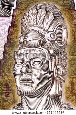 GUATEMALA - CIRCA 1998: Tecun Uman (1500-1524) on Half Quetzal 1998 Banknote from Guatemala. Last ruler and king of the K'iche' Maya people. - stock photo