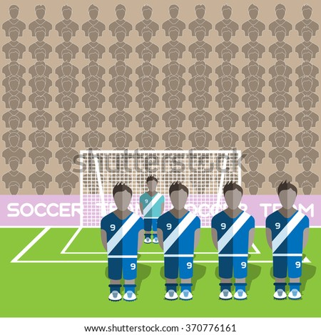 Guatemala Football Club Soccer Players Silhouettes. Computer game Soccer team players big set. Sports infographic. Football Teams in Flat Style. Goalkeeper Standing in a Goal. Raster illustration. - stock photo