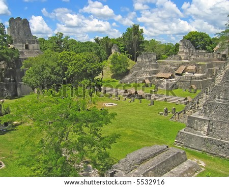 Guatemala maya city named Tikal. - stock photo