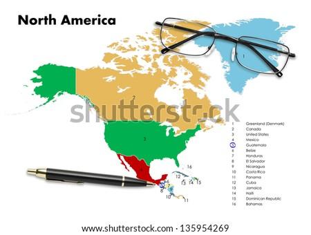 Guatemala on north america map with pen & eyeglasses - stock photo