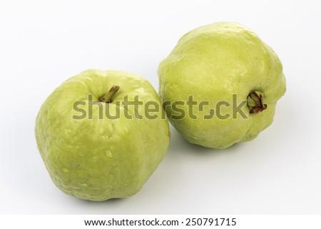 Guava fruit  on white background - stock photo