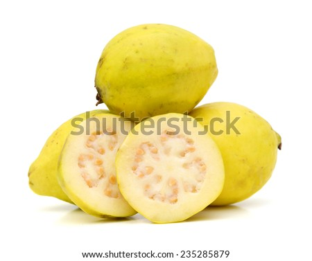 Guava Fruits And Slices Isolated on White Background  - stock photo