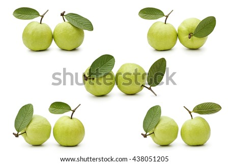 Guava fruits isolated on white background