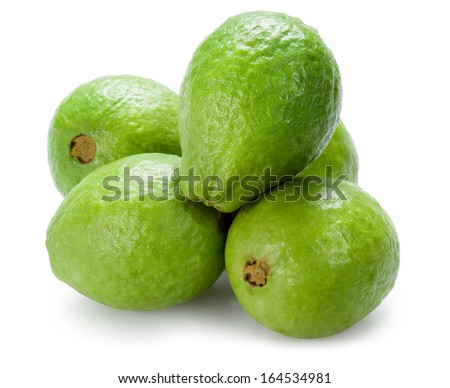 Guava. Group isolated on white - stock photo