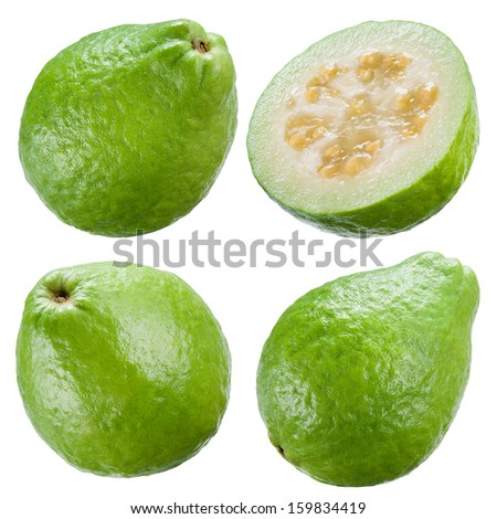 Guava isolated on white background. Collection - stock photo