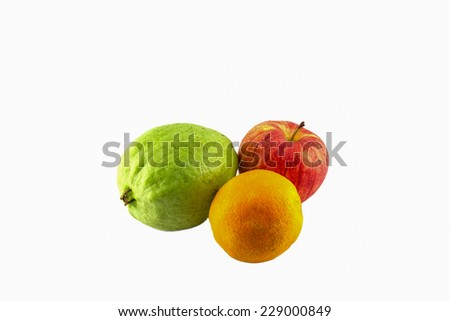 guava  orang and apple on white background - stock photo