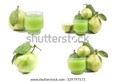 guavas and guava juice on white