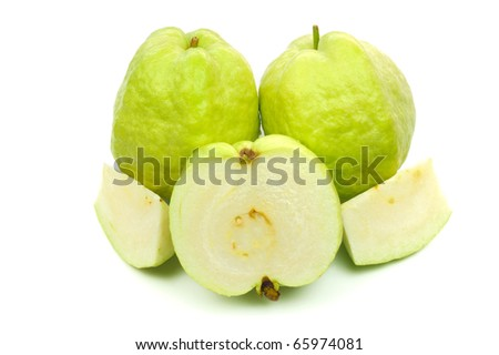 Guavas fruit Isolated on White. - stock photo