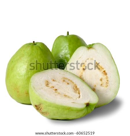 Guavas, group of fruit isolated on white background. - stock photo