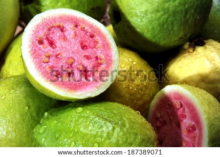 guavas with water droplets - stock photo