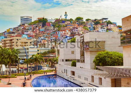 Guayaquil, Ecuador - April 16, 2016: View of picturesque colored poor houses at the top of a hill at Cerro Santa Ana in Guayaquil, Ecuador