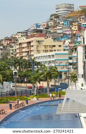 GUAYAQUIL, ECUADOR- NOVEMBER 29, 2012: View of Cerro Santa Ana, city landmark in Guayaquil, Ecuador - stock photo
