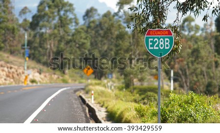 Guayllabamba, Pichincha / Ecuador - March 17 2016: Road sign on the highway near the city of Guayllabamba