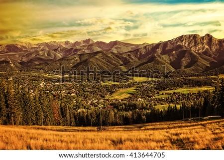 Gubalowka - view on panorama of Tatras at sunset, Poland. - stock photo