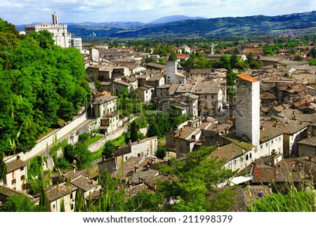 Gubbio- medieval town in Umbria, Italy - stock photo