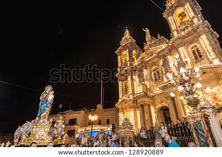 GUDJA - OCT 28: Virgin Santa Marija Assunta night devout procession on October 28, 2012 in Gudja, Malta.