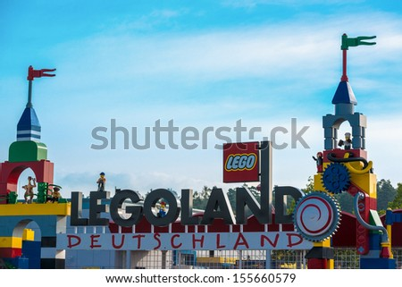 GUENZBURG, GERMANY - SEPTEMBER 21, 2013: Entrance of Legoland on September 21, 2013 in Guenzburg, Germany. The park opened 2002 in Guenzburg in Bavaria as one of Germany�´?s main tourist attractions - stock photo