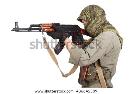 guerilla with AK 47 isolated on white - stock photo