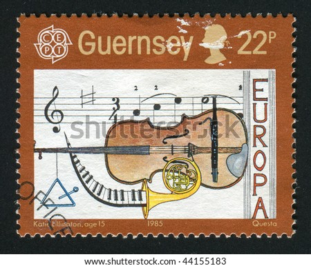 GUERNSEY- CIRCA 1985: Music, cello, French horn, circa 1985.
