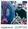 GUERNSEY - CIRCA 1995: stamp printed in Guernsey shows Winston Churchill Liberation of Guernsey, 50th Anniv., circa 1995 - stock photo