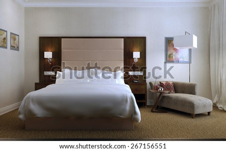 Guest Room Contemporary style, 3d render - stock photo