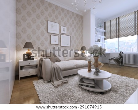 Guest room with a beautiful and comfortable sofas in the art deco style. Two bedside tables with the lamps. Low stlik with the decor. 3D render. - stock photo