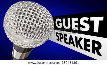 Guest Speaker Microphone Words Animation Introduction - stock photo