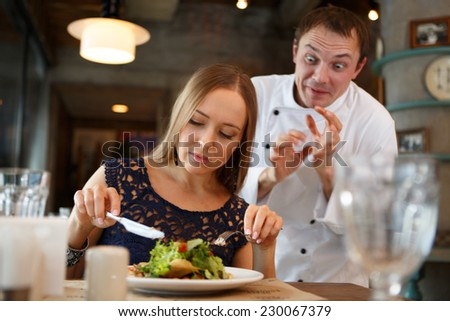 Guest taste a food. Chef's emotion concept - stock photo