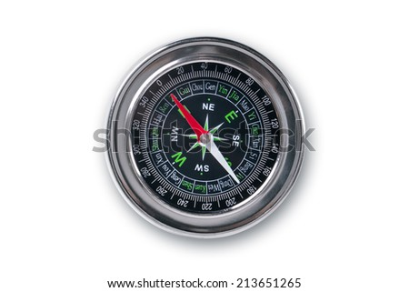 Guidance compass for your direction, isolated on white background. - stock photo