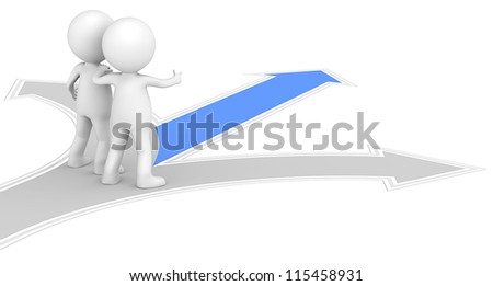 Guidance. 3D little human character X2 at a Crossroad. One Blue. People series. - stock photo