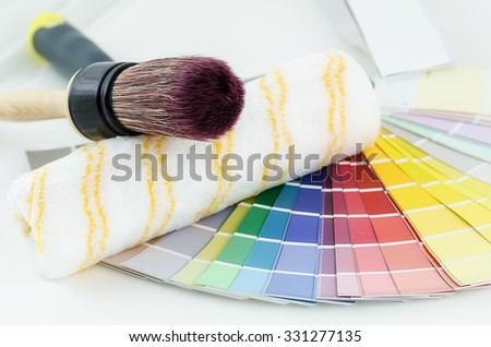 guide color palette with a brush and paint roller