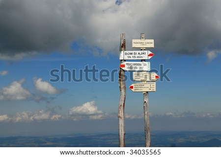 guide post in krkonose mountains - stock photo