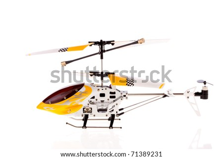 Guided by radio model of helicopter - stock photo