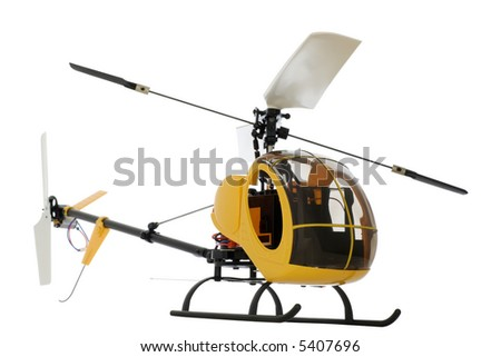 guided by radio model of helicopter. isolated on white. Works on accumulators. - stock photo