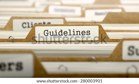 Guidelines Concept. Word on Folder Register of Card Index. Selective Focus. - stock photo