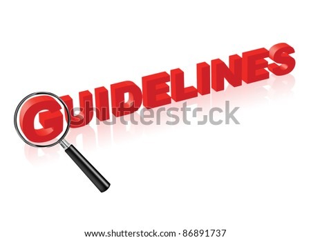 guidelines or instructions indicated by red text and magnify glass search button for manual - stock photo