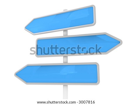 Guidepost on a way (in the form of blue arrows, for your text) - stock photo