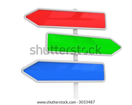 Guidepost on a way (in the form of color arrows, for your text)