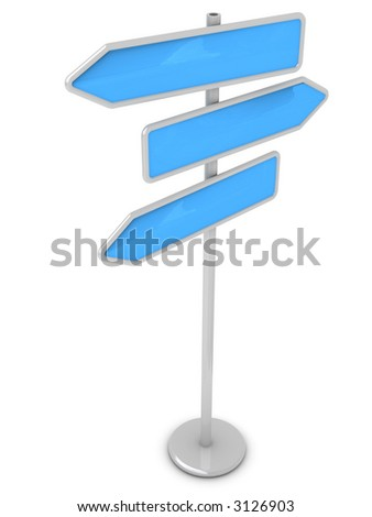 Guidepost on a way (in the form of color arrows, for your text) - stock photo