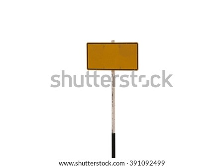 guidepost on white background.signage dark yellow - stock photo