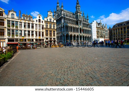 Guild houses on the Grand Place, Brussels, Belgium - stock photo